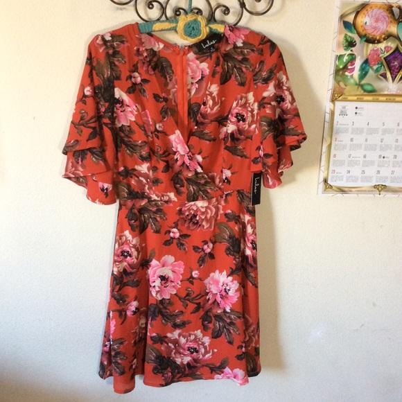 Lulu's Dresses & Skirts - LuLu's Red floral Summer Dress